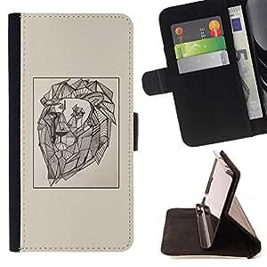 - lion vignette artist art painting drawing - - Prima caja de la PU billetera de cuero con ranuras para tarjetas, efectivo desmontable correa para l Funny HouseFOR HTC One M9