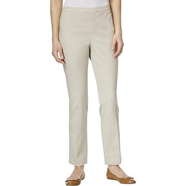 8054a40bb4303 Karen Scott Womens Straight Twill Casual Trousers Stonewall PS 29 - Petite