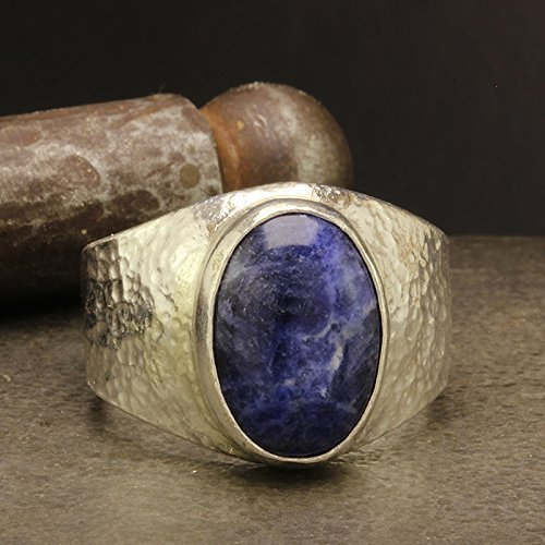 925 Solid Sterling Silver Gemstone Statement Mens, Women, Unisex Ring Natural Cabochon Sodalite Heavy Weight Hammered Handcrafted Artisan Fine Jewelry by Caprixus