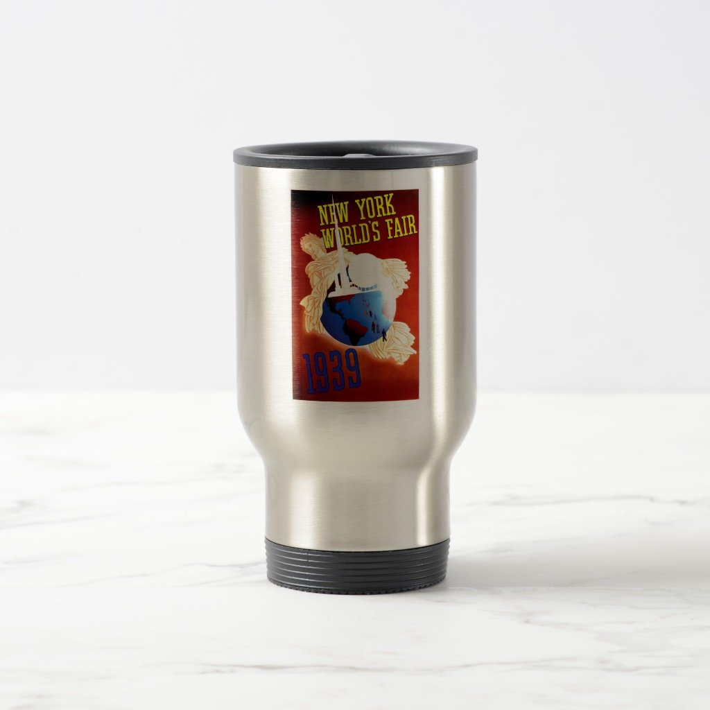 Zazzle Vintage 1939 New York World's Fair Travel Mug, Stainless Steel Travel/Commuter Mug 15 oz