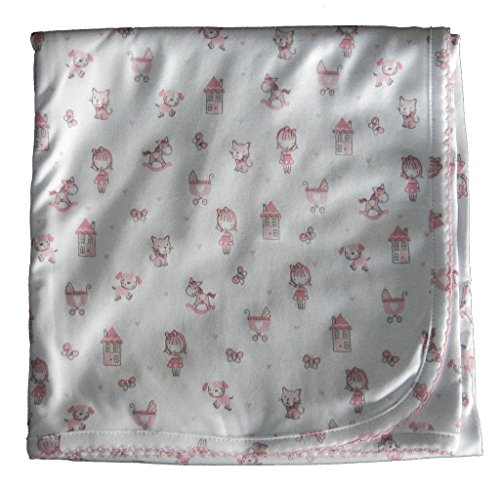 Kissy Kissy Baby-Girls Infant Doll House Dreams Print Receiving Blanket-White With Pink-One Size