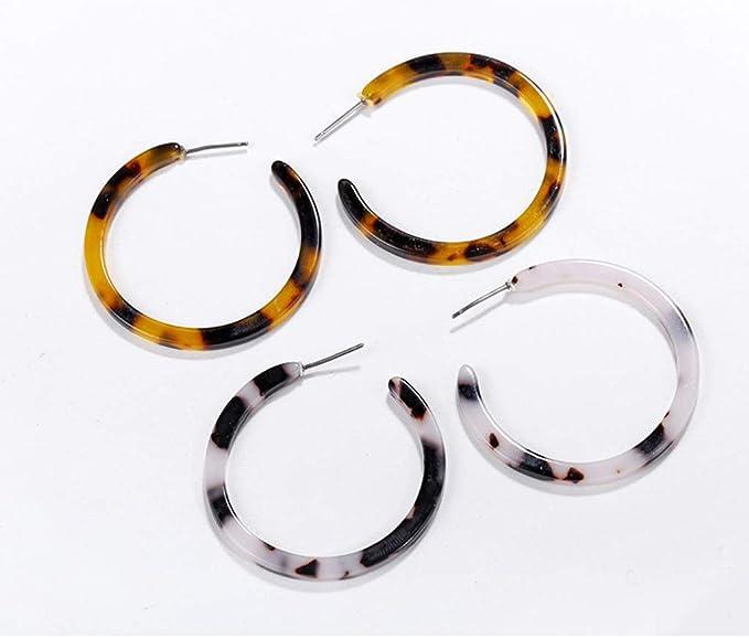 Simdoc Acetate Resin Earrings Mottled Hoop Earrings Geometric Round Resin Drop Dangle Earrings Jewelry Gift For Women Girls