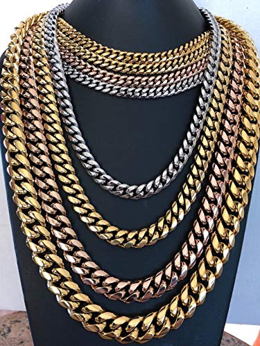 b01e6d73a63ce Harlembling Men's Miami Cuban Link Chain 14k 18k Yellow Gold White Or Rose  Gold Plated Stainless Steel 8-18mm Thick