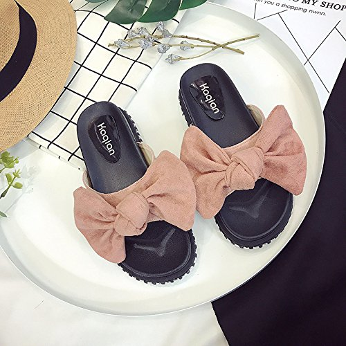 RUGAI-UE Cool zapatillas mujeres estudiantes de verano Anti-Skid plana una pajarita zapatos de mujer Pink
