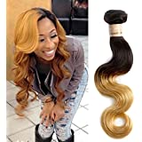 Rabake Human Remy Hair Body Wave Ombre Hair Extentions 1b27# Grade 6A 100% Real Human Hair Weft Weaves Extensions 100g/ps Mixed Length