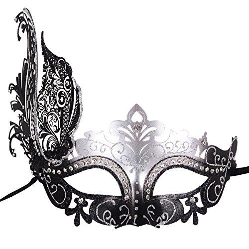 Masquerade Mask Shiny Metal Rhinestone Venetian Pretty Party Evening Prom Mask (Mardi Gras Fashion)