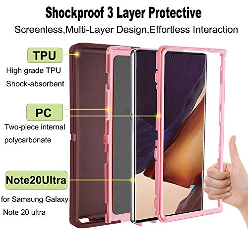"Co-Goldguard Case Compatible with Galaxy Note 20 Ultra,Shockproof Heavy Duty Cover 3 in 1 Hard Covers Dust-Proof Anti-Scratch Shell for Galaxy Note20 Ultra 6.9""(2020 Release),Purple"