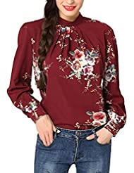 Dainzuy Women Floral Print Casual Long Sleeve Chiffon Blouse Tops Shirt