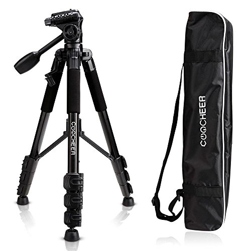 COOCHEER Camera Video Tripod, Alluminum Alloy Camera Stand with Carrying Bag, for DSLR Camcorder Canon Sony Nikon Olympus Lumix Fujifilm Pentax K-1 (Tripod) by COOCHEER