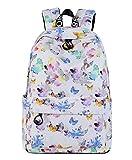 Tibes Women Backpack Fashion Flower Backpack for Girls White