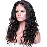 Premier Body Wave Curly Glueless Lace Front Wigs- Loose curly Remy Brazilian Human Hair Wigs, Wet any Wavy Front Free Part Free Part for Black Women with Baby Hair (22inch 1B off Black Hair wig )