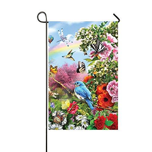 Small Mim Spring Flower Butterfly Garden Bluebird Lookout Birds Garden Flag Holiday Decoration Double Sided Flag 12.5
