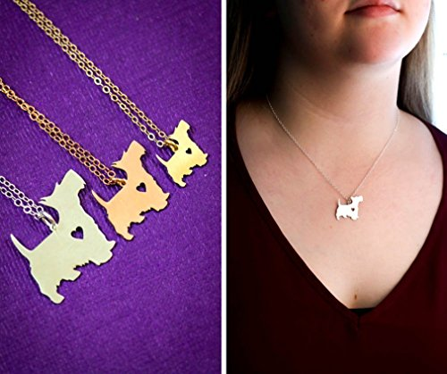 Scottie Dog Necklace - Scottish Terrier - IBD - Personalize with Name or Date - Choose Chain Length - Pendant Size Options - Sterling Silver 14K Rose Gold Filled Charm - Ships in 2 Business Days (Scottish Terrier Dog Names)