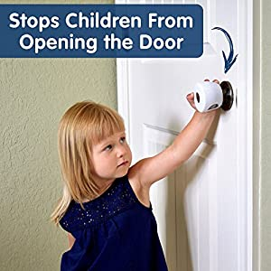 Wittle Door Knob Safety Cover - 4pk Plus Finger Pinch Guard - 2pk. Door Safety Kit for Kids, Toddler and Baby. Child Proof Door Lock Keeps Kid Out While U Shape Foam is a Great Door Slam Stopper!