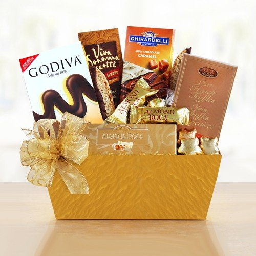 California Delicious Holiday Gold Rush Chocolate Gift Basket (Gift Baskets For Employees)