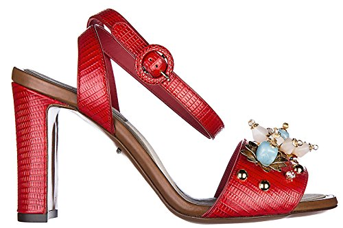 amp;Gabbana piel en rojo Dolce sandalias nuevo keira mujer de tacón TxYwqCdw1