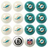Officially Licensed Miami Dolphins Football Billiard Pool Cue Ball Set