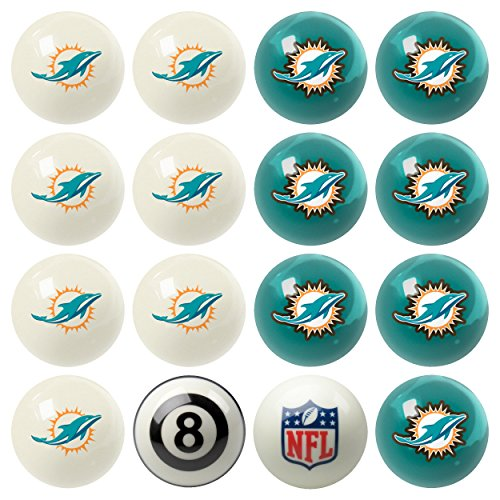 Officially Licensed Miami Dolphins Football Billiard Pool Cue Ball Set by Vigma