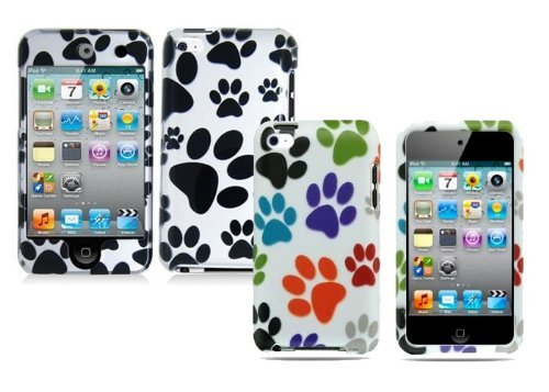 2in1 Combo Dog Paw 2d Hard Snap-on Crystal Skin Case Cover Accessory for Ipod Touch 4th Generation 4g 4 8gb 32gb ()