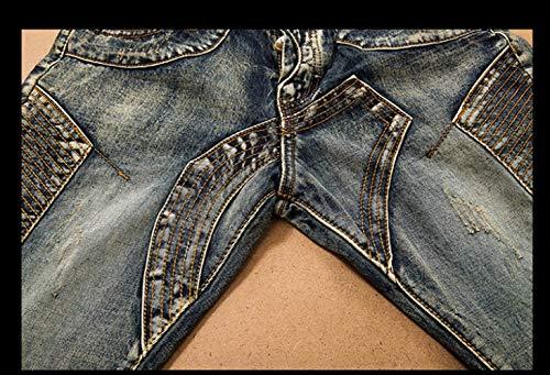Mids Uomo Flaps Slim Yasminey Giovane Di Vecchio Base Jeans Splicing 1 Dritto Pantaloni Vita Flangiato wvggxHBq
