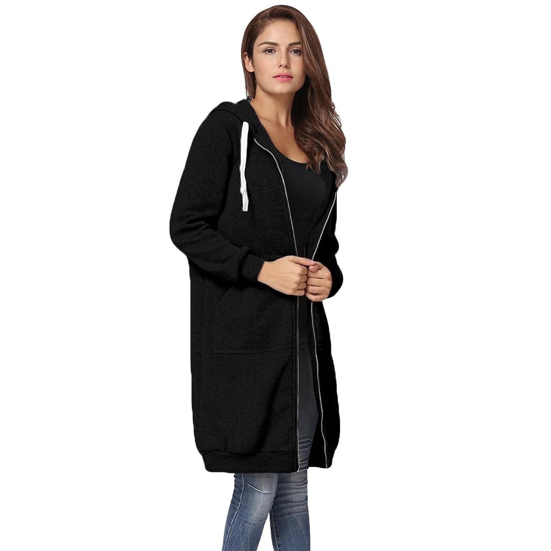 Womens Winter Casual Zip up Coat Hoodie Cardigan Outwear Jacket ...