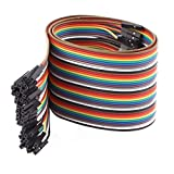 jumper wires bread board - uxcell Female to Female 40P Jumper Wire Ribbon Cable Pi Pic Breadboard DIY 50cm Long
