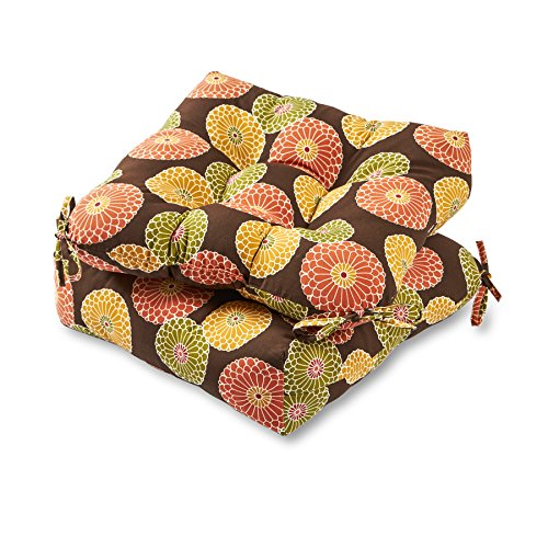 Greendale Home Fashions 20-inch Outdoor Chair Cushion (set of 2), Flowers on Chocolate
