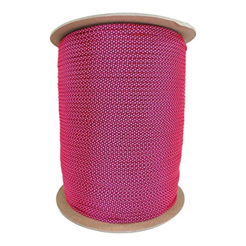 SGT KNOTS Paracord 550 Type III 7 Strand - 100% Nylon Core and Shell 550 lb Tensile Strength Utility Parachute Cord for Crafting, Tie-Downs, Camping, Handle Wraps (Neon Pink Diamonds - 100 ft)
