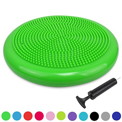 Trideer Extra Thick 34/35cm Air Stability Wobble Cushion, Core Balance Disc, Balance Boards, Posture Trainer, Fitness Stability Pad with Pump - Available in Black, Blue, Red, Orange (34cm Green)