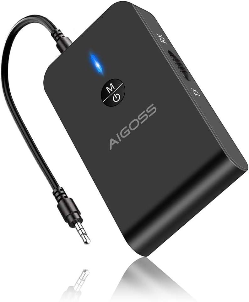Aigoss Adaptador Bluetooth V5.0 Transmisor y Receptor 2-en-1 Jack 3,5 mm Receptor Audio Música Baja Latencia en Modo RX TX, para TV/Altavoces/PC/Auriculares/Coche