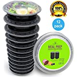 Round Meal Prep Containers Set - Portion Control Bento Box- Food Storage/Restaurant Foodsavers - 12pk