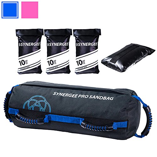 Synergee Pro Adjustable Fitness Sandbag with Filler Bags 10-40lbs Heavy Duty Weight (Fitness Bag)