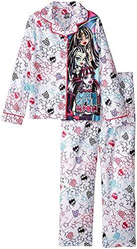 (Monster High Big Girls'  Coat Pajama Set with Panel, White,)