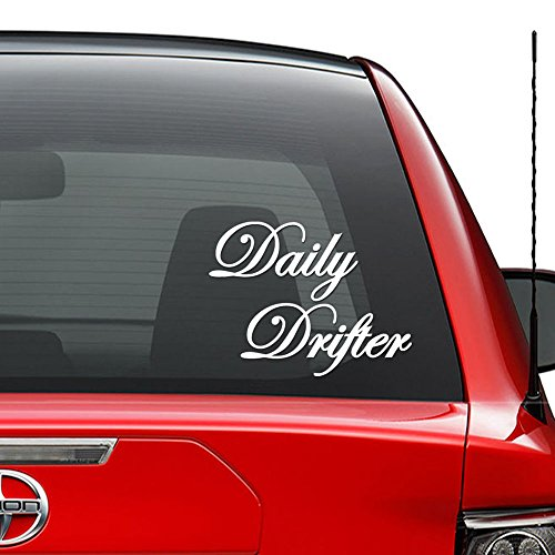 Daily Drifter Drift Japanese JDM Vinyl Decal Sticker Car Truck Vehicle Bumper Window Wall Decor Helmet Motorcycle and More - (Size 7 inch / 18 cm Wide) / (Color Matte White)