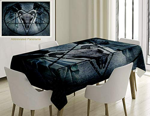 - Unique Custom Cotton And Linen Blend Tablecloth Horror House Decor Artwork With Pentagram Icon Goat Skull Devil Dream Hoody Figure Exorcist Image BlueTablecovers For Rectangle Tables, 86 x 55 Inches