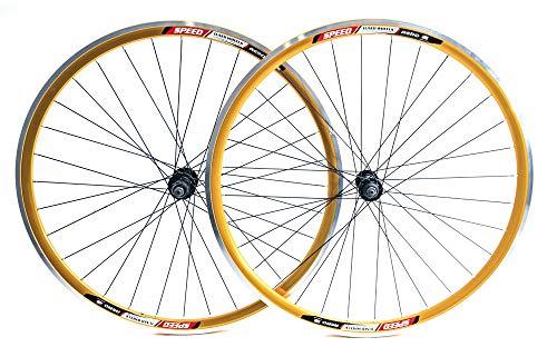 Stay-Tru Speed Aero 700c Road Bike Double Wall Alloy Wheelset 8-10 Speed Gold QR New