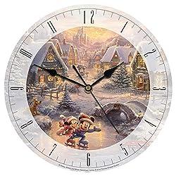 Thomas Kinkade Disney Mickey and Minnie Sweetheart Holiday 8 Glass Clock