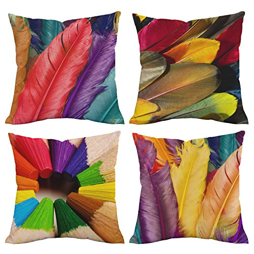 BLEUM CADE Colorful Feathers & Crayons Throw Pillow Covers Square Pillowcase, Durable & Soft Polyester Peach Cushion Covers for Car Chair Sofa Couch Bed Home Decoration Set of 4, 18 x 18 inch