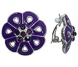 Painted Flower Silver Tone Clip on Lightweight Rhinestone Centers Formal Fancy Casual Earrings (Purple)