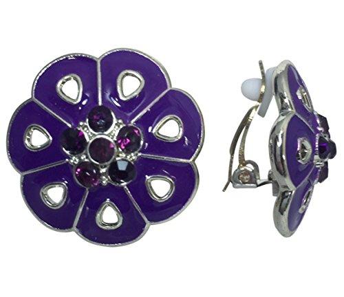 Earrings Purple Casual (Painted Flower Silver Tone Clip on Lightweight Rhinestone Centers Formal Fancy Casual Earrings (Purple))