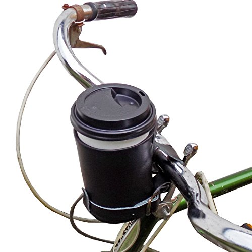 Cruzy Leather Bike Cup Holder Handmade by Hide & Drink :: Black (Beach Cruiser Cup Holder Black)