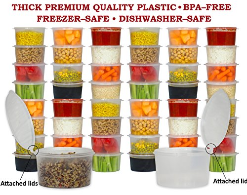 Tovla Reusable Premium Quality Deli Storage Containers with Attached Lose-Proof Lid 16 oz (48-Count) Portable, Travel, Plastic Lunch Dishware | Deep Freeze, Dishwasher Safe | BPA (Deep Fruit)