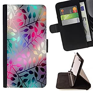 For Samsung Galaxy S5 V SM-G900 PASTEL NEON LEAF PATTERN Style PU Leather Case Wallet Flip Stand Flap Closure Cover