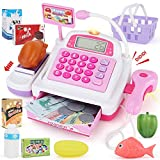 SONiKi Cash Register Pretend Play Supermarket Shop Toys with Calculator,Working Scanner,Credit Card,Play Food,Money