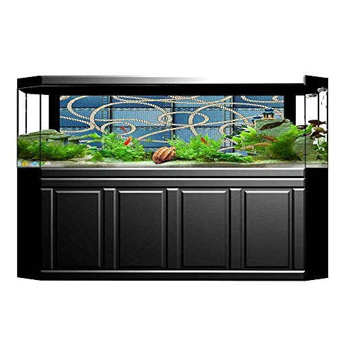 UHOO2018 Background Fish Tank Decorations Various Patches of Denim in Sea with Sailor Knot Rope on Foreground Image Fish Tank Wallpaper Sticker 29.5
