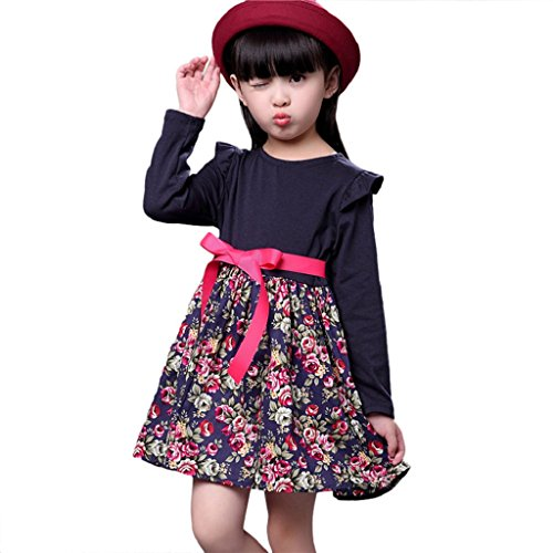 Creazrise Toddler Dress,Baby Long Sleeves Princess Dresses Kids Floral Party Skirt Girls Clothes (Navy, 24M)