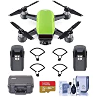 DJI Spark Mini Drone - Meadow Green - Bundle With Go Professional Cases Fly More Case, Intelligent Flight Battery, Propeller Guard, 32GB MicroSDHC U3 Card, Cleaning KIt