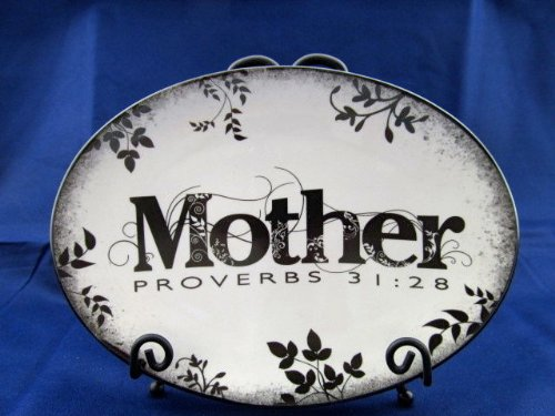 Porcelain Toile Plate (Mother's Day Keepsake Plate Iron Stand Proverbs 31)