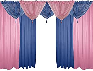 "PINK & NAVY BLUE 9 PIECE VOILE SET 54"" 137CM ROD POCKET CURTAINS DRAPES & SWAGS"