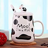 LaTazas® Morning Ceramic Milk Coffee Mug Cute Cow Pattern Design Porcelain Funny Cup 16Oz with Lid and Spoon White
